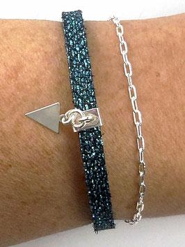 Bracelet double rang en argent et cuir turquoise noir, breloque triangle