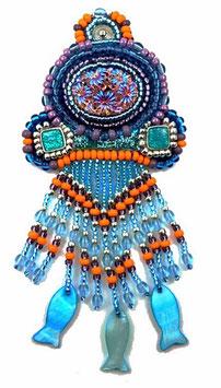 Broche brodée créateur multicolore style bohème chic Féerie océane