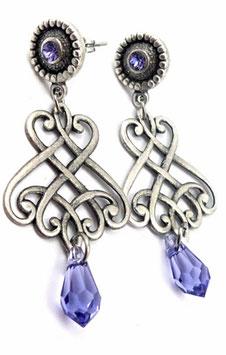 Clous d'oreilles bleu tanzanite laiton argenté, cristal, baroques