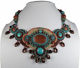 Collier plastron créateur brodé, ethnique chic, bleu turquoise marron - Esprit du vent