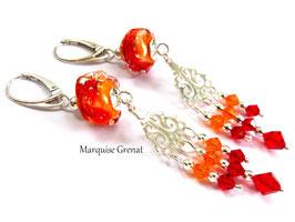 Boucles d'oreilles dormeuses boho hippie rouges oranges