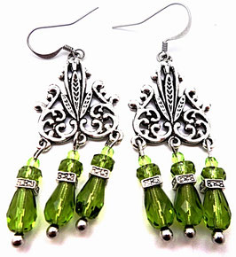Boucle d'oreilles vertes chandeliers laiton argenté, hippie chic