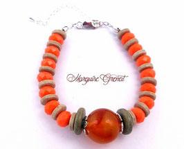 Bracelet boho chic orange sable en argent céramique et verre de Bohème