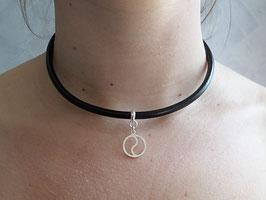 Collier ras du cou cuir noir et argent 925, pendentif yin et yang