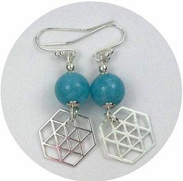 Boucles d'oreilles en argent et aigue marine, breloques hexagones, graphiques
