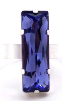 Bague rectangle ajustable en argent et cristal Swarovski bleu tanzanite, glamour