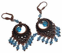 Boucles d'oreilles dormeuses hippie chic bleu aquamarine cuivre