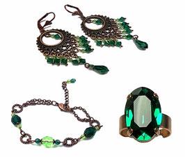 Parure fantaisie hippie chic cuivre vert ani émeraude, bracelet, boucles d'oreilles bague