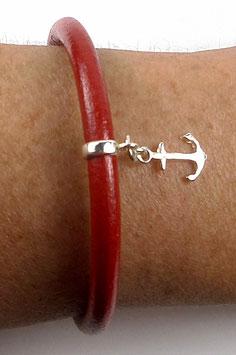 Bracelet minimaliste en cuir rouge et argent , thème marin, breloque ancre marine, unisexe