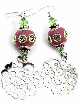 Boucles d'oreilles orientales, rose, vert péridot, argenté, estampes arabesques