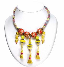 Collier court original, ethnique multicolore à pompons