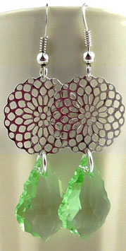 Boucles d'oreilles en argent estampes, gouttes baroques vertes cristal Swarovski