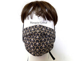 Masque adulte alternatif à nouer motif en coton Oeko-tex graphique noir