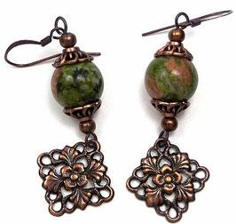 Boucles d'oreilles estampes rétro vert vieux rose en unakite