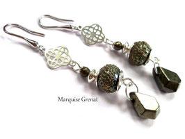 Boucles d'oreilles kaki à gouttes en argent pyrite verre filé