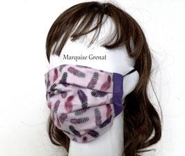 Masque en coton Oeko-tex motif plumes