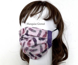 Masque en coton motif plumes