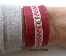 Bracelet végan Eva rouge ficelle argent
