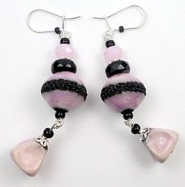 Boucles d'oreilles rose poudré en argent, verre et céramique Raku, boho chic