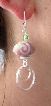 Boucles d'oreilles dormeuses en argent, cristal, verre, céramique, rose, vert péridot, blanc, anneaux pendants, boho romantique