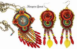 Parure brodée multicilore bohème, ethnique, hippie chic collier boucles d'oreilles