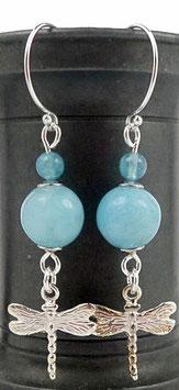 Boucles d'oreilles en argent et quartz éponge bleu clair, libellules