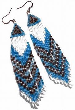 Boucles d'oreilles ethniques tissées bleu blanc cuivre