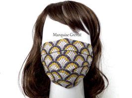 Masque adulte alternatif en coton éventails noir jaune blanc fond gris