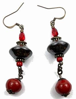 Boucles d'oreilles rouge et kaki brun, céramique, verre, laiton, bohèmes chics