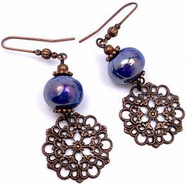 Boucles d'oreilles estampes boho hippie bleu électrique cuivre