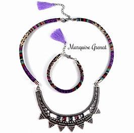 Parure collier bracelet ethnique argenté multicolore