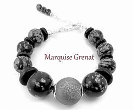 Bracelet noir et gris en argent et perles en obsidienne mouchetée et agate druzy, gemmes et céramique, boho chic