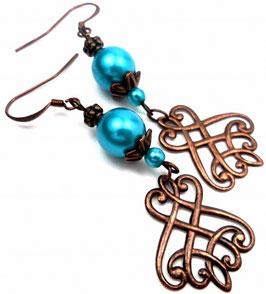 Boucles d'oreilles estampes baroques turquoise nacré cuivre