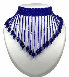 Collier ras du cou plastron frangé tissé perles bleu marine et argent 925