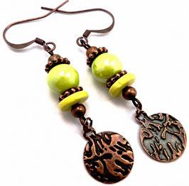 Boucles d'oreilles boho vintage vert anis cuivre