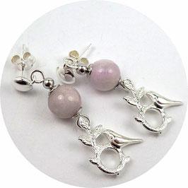 Clous d'oreilles en argent perles Kunzite rose lavande clair, pendants oiseaux sur branches, poétiques