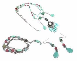 Parure fantaisie ethnique chic menthe et corail, collier bracelet boucles d'oreilles