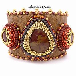 Bracelet manchette brodé cuir pierre fine, couleurs de l'automne, Ornella