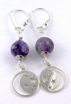 Boucles d'oreilles dormeuses en argent et charoïte pierre fine violette, pendants demi lune étoilée