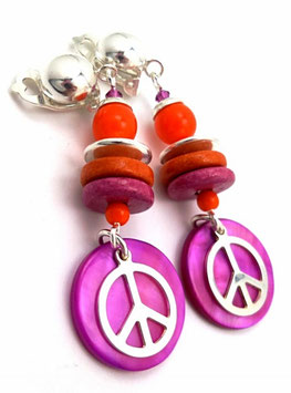 Boucles d'oreilles en argent à clips oranges et fuchsias, peace and love, hippie chic