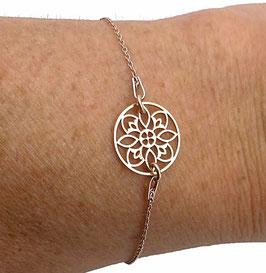 Bracelet en argent doré rose avec rosace