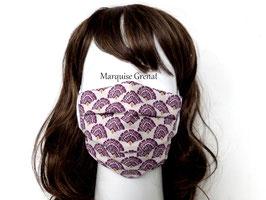 Masque adulte coton Oeko-tex éventails prune fond écru