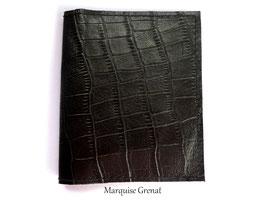 Porte cartes en cuir noir et noisette