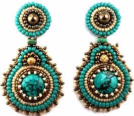 Boucles d'oreilles brodées turquoises, bronzes, écrues, pierres de gemme, argent, verre, cuir, ethniques chics