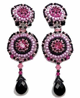 Boucles d'oreilles brodées, clips en argent, cristal rose et noir, néo baroque
