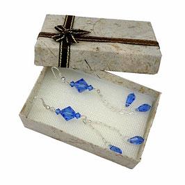Boucles d'oreilles pendantes à gouttes en argent, cristal bleu saphir, glam'chic