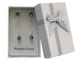 Puces d'oreilles avec pendants en argent et cristal Swarovski bleu jean