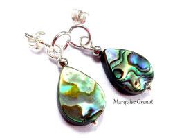 Clous d'oreilles gouttes nacre abalone