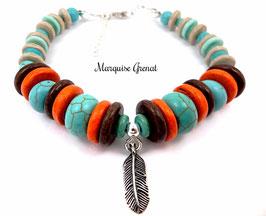 Bracelet ethnique boho unisexe multicolore en argent pierre fine et céramique