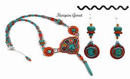Parure brodée créateur ethnique, orange turquoise, argent, collier boucles d'oreilles